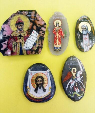 Миниатюры икон на камне